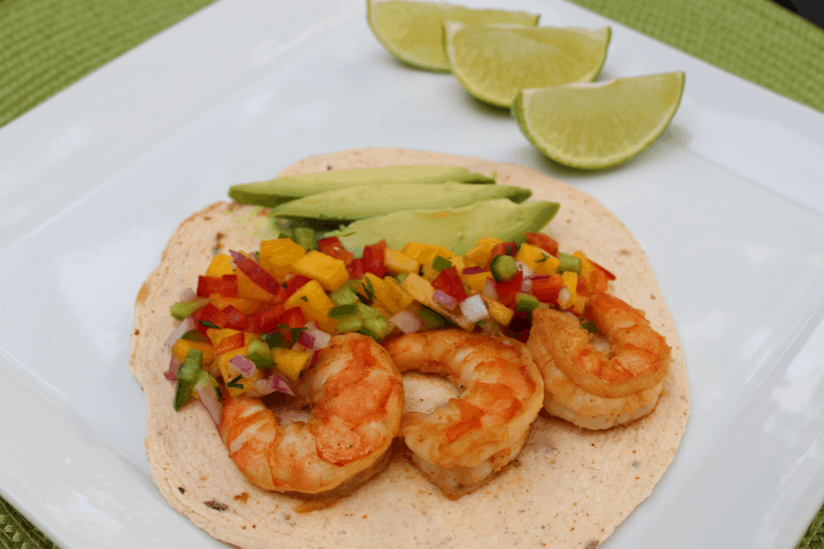 Spicy Shrimp Tacos with Mango Salsa