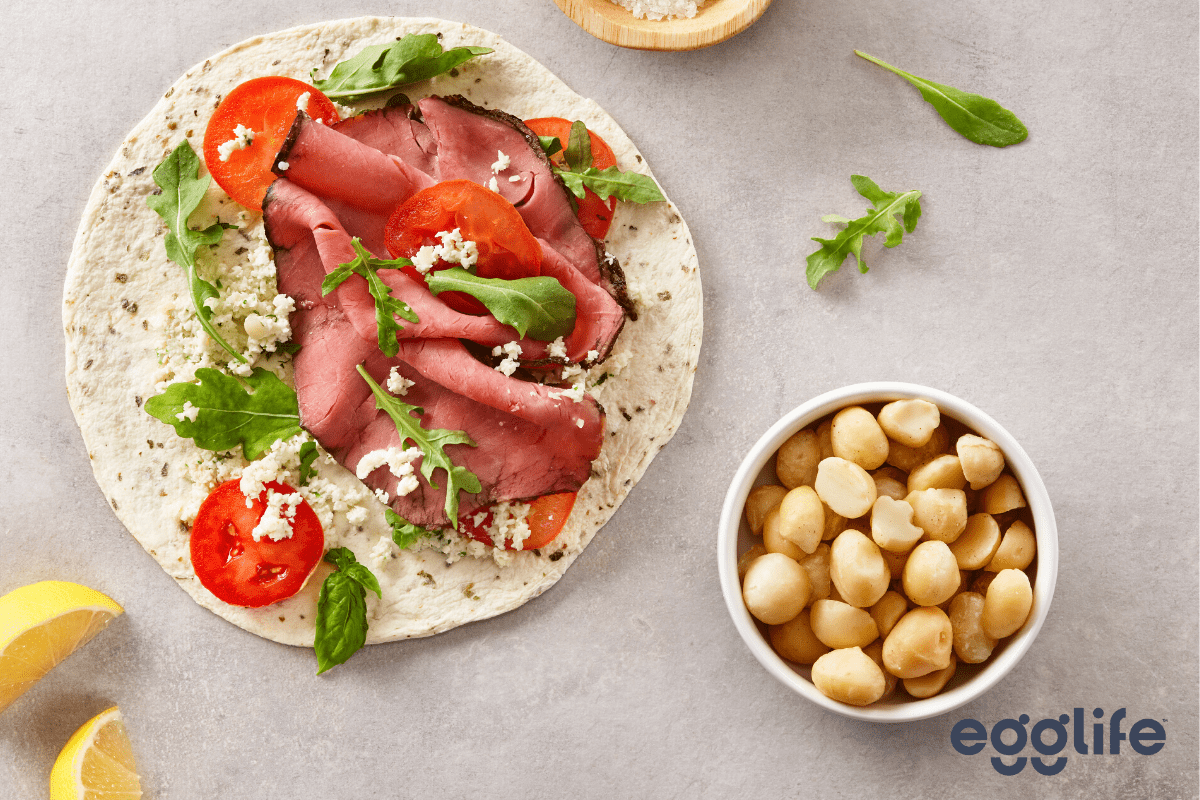 quick-and-easy roast beef with herbed macadamia ricotta