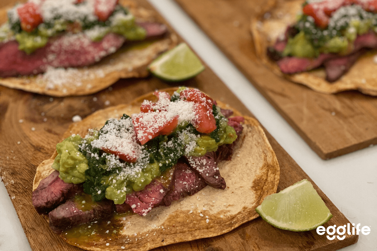 keto grilled steak street tacos with chimichurri sauce