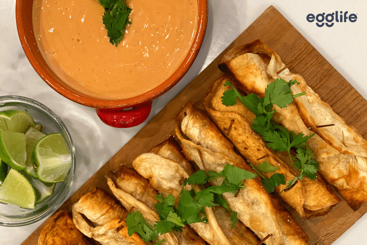 grilled shrimp taquitos with baja sauce - keto friendly